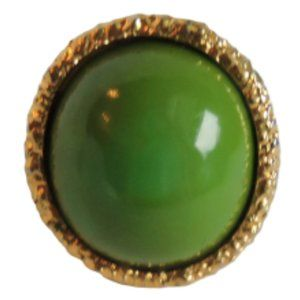 Jewelry - Green Bakelite Ring Cocktail Modernist Statement